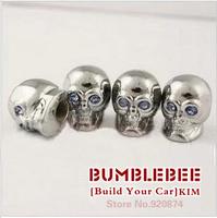 Free shipping!(4PCS)metal Tire Valve Stem Caps easy DIY decoration,Car Logo emblem   Tire Valve Caps for skull,VC309-2