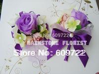 New Prom 10pcs Fabric  Wedding Decoration Boutonniere  Artificial Rose Orchid  Wrist Flower Corsage  Purple Violet FL1102