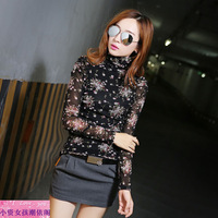 2013 autumn female sexy gauze basic shirt long-sleeve all-match basic turtleneck shirt heap turtleneck t-shirt female