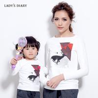 Female autumn 2013 diary women's parent-child geometric patterns T-shirt graphic long-sleeve sweater top