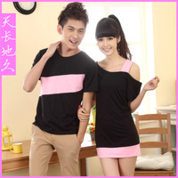 2013 lovers fashion color block short-sleeve T-shirt female sexy strapless one-piece dress