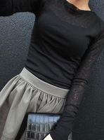Autumn female sexy perspective T-shirt thin long-sleeve shirt small vest twinset