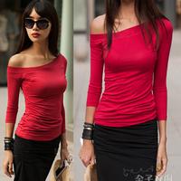Slit neckline strapless sexy slim basic female all-match three quarter sleeve t-shirt