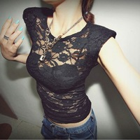 Fashion summer 2013 female sexy perspective gauze pads double layer lace t-shirt top