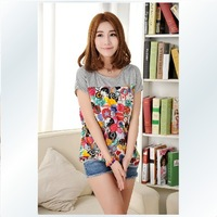 Fashion female big summer mm loose short-sleeve t-shirt