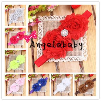 """3"""" Chic Chiffon Shabby Flower Headbands With Shiny Pearl Center Toddler Baby Girl Headband 24pcs/lot"""