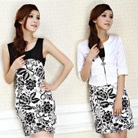 5xl 4xl 3xl bust 110 110cm women's ol work wear blazer print one-piece dress set black and white