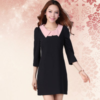 Stella free shipping Autumn women's peter pan collar three quarter sleeve formal 6131 one-piece dress