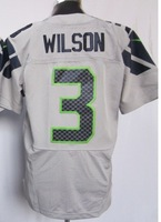 #3 Russell Wilson grey jerseys top quality Men's Authentic elite Football Jersey