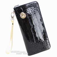 Japanned leather women's long design female clutch coin purse zipper bag women's handbag day clutch card holder