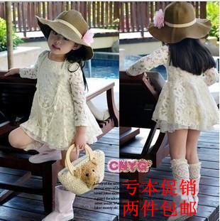 Hot-selling 2013 autumn girls clothing beige elegant cutout flower lace princess dress gentlewomen long-sleeve dress