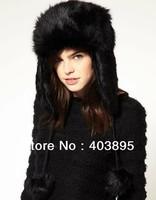 New Fashion Women's Fur Hat Winter Warm Bomber Hats Locomotive Cap Russian Earmuffs Hat(Free Shipping+4 Colors)