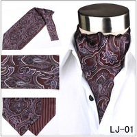 Free Shipping New High Quality Men's Rust Red Paisley Design Silk Ascot  fashion  Cravat