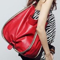 Free shipping 2013 hot women bags handbag lady PU leather classic women's handbag,red/yellow