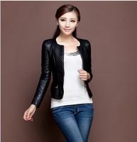 Freeshipping!2013 fashion genuine leather  jacket of women  women Slim Fit sheepskin leather motorcycle jacket coat/S-3XL