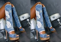 2013 Blue Jeans Boots Open Toe Denim Summer Sandals Boots jeans lace patchwork knee boots fashion cut-outs denim High Heels
