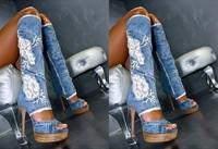 2013 Blue Jeans Boots Open Toe Denim Summer Sandals Boots jeans lace patchwork knee boots fashion cut-outs denim High Heels