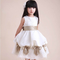 Female child short-sleeve dress tank dress white bow cake performance dress flower girl formal dress