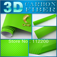 Green 3D Carbon Fiber Car Wrap Sticker High Quality For Car Decoration With Bubble Free Size: 1.52 m x 30 M Free Shipping