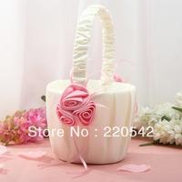 1Pcs Pink Rose Flower Wedding Flower Girl Basket SL19