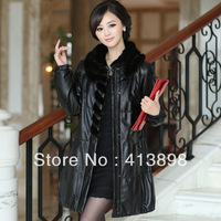 2013 autumn women down coat female genuine leather clothing mink genuine leather overcoat medium-long leather freeshipping