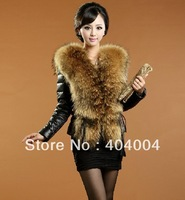 Rich lady's Long snow vogue jacket Free shiping short fur coat raccoon fur genuine sheepskin leather big collar down coat 3XL