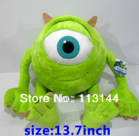 Free shipping 1pcs 13.7inch Monsters Inc Mike Wazowski toy, Monsters University Mike Wazowski plush soft dolls