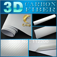 White 3D Carbon Fiber Wrap Sticker High Quality Vinyl Film  For Car Decoration With Bubble Free 1.52 m x 30 M Free Shipping