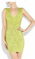 Free shipping high quality! H L Green V-Neck Jacquard Bandage Dress 2013 New Arrival Celebrity Casual Elegant Evening Dresses