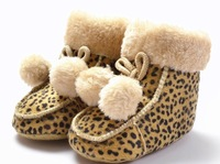 Leopard baby boot cute ball  winter boot casual shoes baby pram shoes first walker prewalker shoes retail