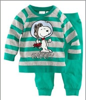 Green cartoon snoopy Gop Children's Baby pajamas boys girls Pyjamas suits Kids pjs shirts+pants 100% cotton