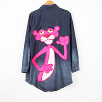 2013 NEW Pink Panther Denim Cartoon  AMERICAN APPAREL Denim Shirt in Light Wash Embroidery Long Denim Shirts