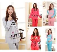 A2agx 2014 winter maternity dress set Month clothing 100% cotton sleepwear breast feeding clothes nursing dress leng sleeve