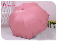 Free shipping!!  Princess folding women's pure hand embroidery   black vinyl coating sun protection rain umbrella