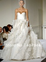Free shipping new arrival famous designer tulle floor length sweetheart neck ball gown wedding dress plus size custom made