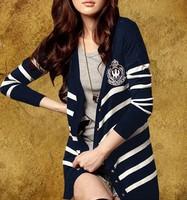 2013 autumn Fashion style cardigan medium-long sweater thin outerwear long-sleeve navy style stripe sweater Free shipping