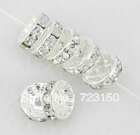 FREE SHIPPING 500pc 6mm White Silver Plated CZ Crystal Rhinestone Spacer Loose Beads Findings E001