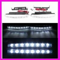 2014 Hot sales 2pcs 8 LED Universal Car Light DRL Daytime Running Head Lamp Super White car External Lights