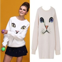 Free Shipping  AA-998 O-Neck Pullover Hoodie Women Oversized Plus Size Harajuku Blue Eyes Cat Printed Long Sweater shirt