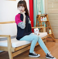 2013 autumn women's plus size loose long design cartoon long-sleeve T-shirt Women basic shirt