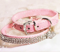 Free Shipping 2014 Hot Pink Leather Pet Collar with Sparkly Rhinestone for Puppy Doggie or Cats Pet Necklace Pet Products