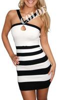 Free shippingHigh Quality HL White Black Striped Halterneck Celebrity Bandage Dress Mini Evening Party Dress