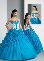 Ball Gown Sweatheart  Floor-Length Organza Quinceanera Dress With Flower and Beading HWGJQD1