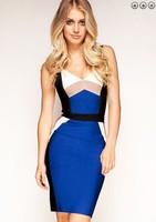 Free shipping High Quality! New Arrival Women's HL Blue V-neck halter Sling Bandage Dress Celebrity Party Dress