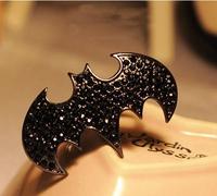 2013 NEW Free Shipping Gothic Black BAT Holloween Rhinestone Rings TWO FINGERS Retro WOMENS MENS Ring Wholesale 197
