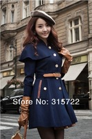 2013 new winter fashion women slim fit woolen jacket shawl cape coat, large size warm outwear blends  M,L,XL L-043