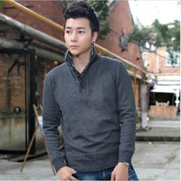 Free Shipping 2013 male sweater stand collar outerwear faux two piece men's sweater men's clothing