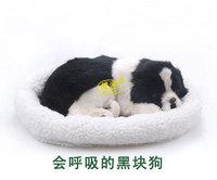 pampered petz pet mate breathing dog Black spots dog cute toy sleeping pet emulational mini lifelike lively visual vivid toy