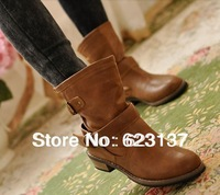 free shipping women boots fashion vintage flat martin boots female ankle  motorcycle boots