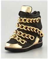 2014 Free Shipping Women Brand Casual Wedge Shoes Height Increasing  Fashion Black Golden Metal Chain Women Sneakers